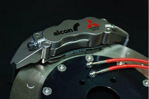 Alcon Mitsubishi Lancer Evo 4 to 9 Front brake kit 6 pot Red caliper  343x32mm